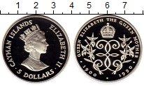 Изображение Монеты Каймановы острова 5 долларов 1990 Серебро Proof- 90 лет Королеве-мате