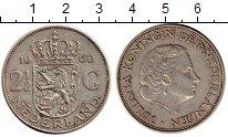 Изображение Монеты Нидерланды 2 1/2 гульдена 1960 Серебро VF