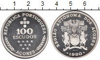 Изображение Монеты Португалия Азорские острова 100 эскудо 1980 Серебро Proof-