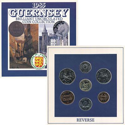 Изображение Подарочные монеты Великобритания Гернси Набор 1985 года 1985  UNC