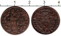 Изображение Монеты Швейцария Граубюнден 1/2 батзена 1836  VF