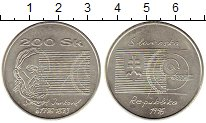 Изображение Монеты Европа Словакия 200 крон 1996 Серебро UNC-