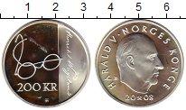 Изображение Монеты Норвегия 200 крон 2008 Серебро Proof- 200 лет со дня рожде