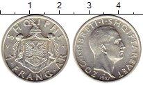 Изображение Монеты Албания 1 франгар 1937 Серебро XF