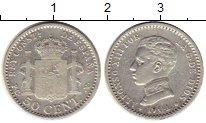 Изображение Монеты Испания 50 сентим 1904 Серебро XF- Альфонсо XIII