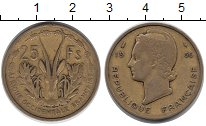 Изображение Монеты Африка Французская Западная Африка 25 франков 1956 Латунь VF