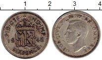 Изображение Монеты Великобритания 6 пенсов 1945 Серебро VF