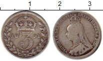 Изображение Монеты Великобритания 3 пенса 1891 Серебро VF