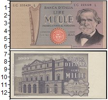Изображение Банкноты Европа Италия 1000 лир 0  XF+