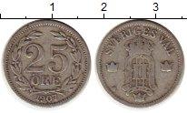 Изображение Монеты Швеция 25 эре 1907 Серебро VF Оскар II