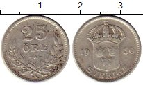 Изображение Монеты Швеция 25 эре 1930 Серебро VF Густав V