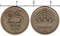 Изображение Монеты Европа Швеция 25 эре 1949 Серебро VF