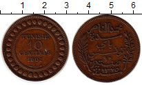 Изображение Монеты Африка Тунис 10 сантим 1907 Бронза XF