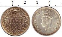Изображение Монеты Азия Индия 1/2 рупии 1939 Серебро XF