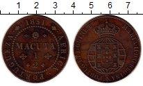 Изображение Монеты Ангола 1/2 макуты 1851 Медь XF- Мария II, Португальс