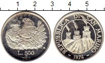 Изображение Монеты Сан-Марино 500 лир 1974 Серебро Proof-