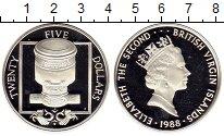 Изображение Монеты Виргинские острова 25 долларов 1988 Серебро Proof- Елизавета II, мортир