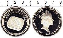 Изображение Монеты Виргинские острова 25 долларов 1988 Серебро Proof- Елизавета II, гравир