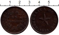 Изображение Монеты Южная Америка Чили 1 сентаво 1853 Медь XF