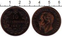 Изображение Монеты Италия 10 чентезимо 1867 Бронза VF Виктор  Эммануил II,