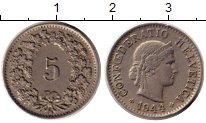 Изображение Монеты Европа Швейцария 5 рапп 1944 Медно-никель XF