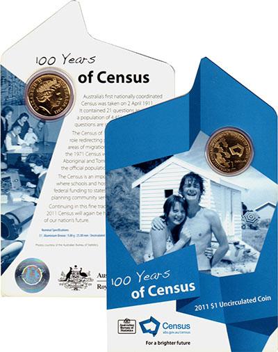 Изображение Подарочные монеты Австралия 1 доллар 2011 Латунь UNC