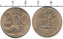 Изображение Монеты Сан-Марино 200 лир 1991 Латунь UNC