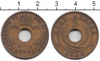 Изображение Монеты Великобритания Восточная Африка 5 центов 1942 Бронза XF-