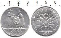 Изображение Монеты Европа Италия 5000 лир 1999 Серебро UNC