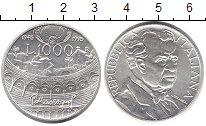 Изображение Монеты Италия 1000 лир 1995 Серебро UNC 50 лет со дня смерти