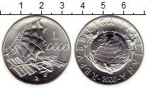 Изображение Монеты Италия 10000 лир 2000 Серебро UNC Покорение воздуха