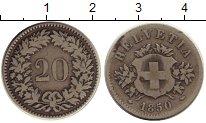 Изображение Монеты Европа Швейцария 20 рапп 1850 Серебро XF-