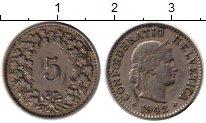 Изображение Монеты Европа Швейцария 5 рапп 1942 Медно-никель XF