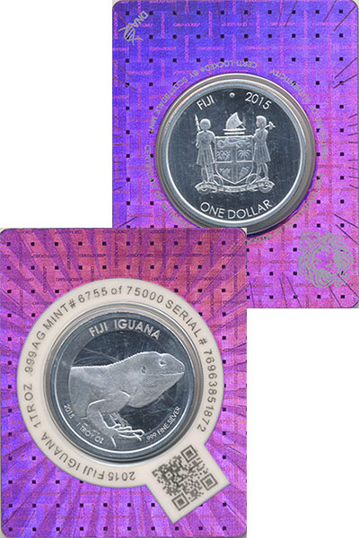 Изображение Подарочные монеты Фиджи 1 доллар 2015 Серебро UNC