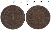 Изображение Монеты Южная Америка Уругвай 4 сентесимо 1869 Медь XF