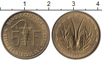 Изображение Монеты Западная Африка 5 франков 1972 Латунь UNC-