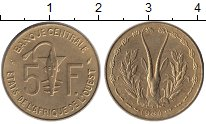 Изображение Монеты Западная Африка 5 франков 1984 Латунь UNC- Золотая гиря народа