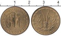 Изображение Монеты Западная Африка 5 франков 1985 Латунь UNC- Золотая гиря народа