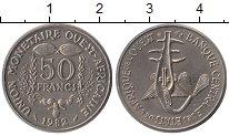 Изображение Монеты Великобритания Западная Африка 50 франков 1982 Медно-никель UNC-