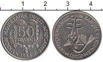 Изображение Монеты Западная Африка 50 франков 1984 Медно-никель UNC- Золотая гиря народа
