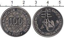 Изображение Монеты Западная Африка 100 франков 1987 Медно-никель UNC- Золотая гиря народа