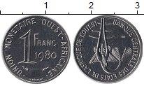 Изображение Монеты Западная Африка 1 франк 1980 Медно-никель UNC-