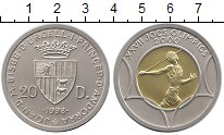 Изображение Монеты Европа Андорра 20 динерс 1998 Биметалл UNC