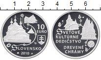 Изображение Монеты Словакия 10 евро 2010 Серебро Proof Деревянные церкви Сл