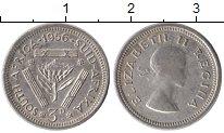 Изображение Монеты Африка ЮАР 3 пенса 1956 Серебро XF
