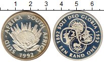 Изображение Монеты Африка ЮАР 1 ранд 1992 Серебро Proof-