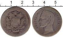 Изображение Монеты Венесуэла 2 боливара 1930 Серебро VF- Симон Боливар