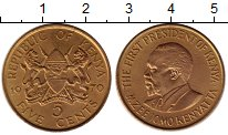 Изображение Монеты Кения 5 центов 1970 Латунь XF
