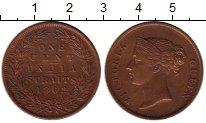 Изображение Монеты Стрейтс-Сеттльмент 1 цент 1862 Медь XF-