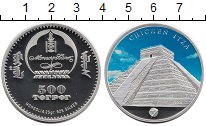 Изображение Монеты Монголия 100 тугриков 2008 Серебро Proof- Чичен-Ица, цветная